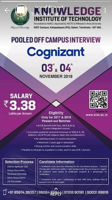 Cognizant Walk-In-Interview at 3&4 November