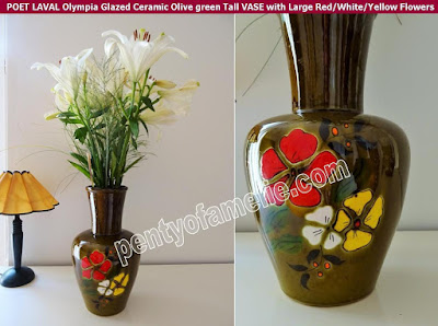 "Vintage French ""Olympia"" Tall Vase by POET LAVAL Pottery. Glazed Ceramic, in Olive green with Large Red White Yellow Flowers"