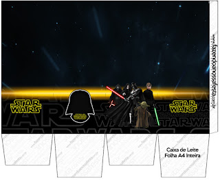 """Caja tipo """"de leche"""" para Impimir Gratis de Star Wars."""
