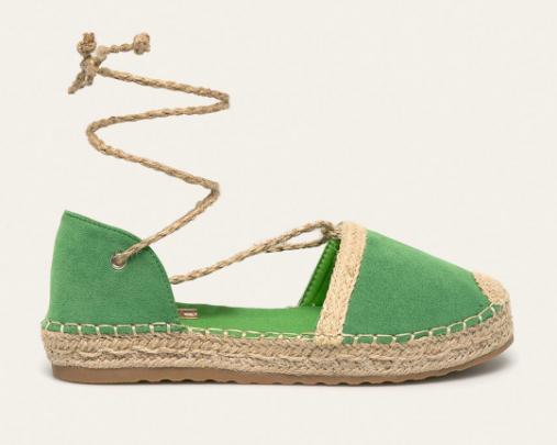 Espadrile dama verzi piele intaorsa eco cu decupaje la moda ieftine