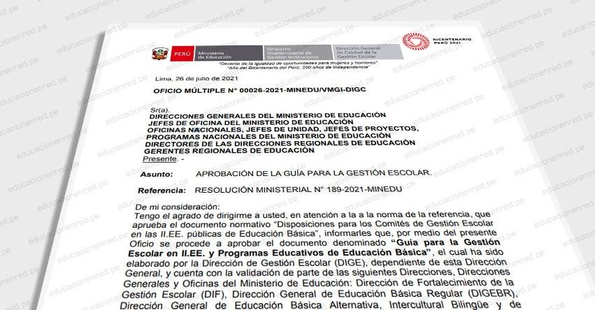 OFICIO MÚLTIPLE N° 00026-2021-MINEDU/VMGI-DIGC.- Guía para la gestión escolar