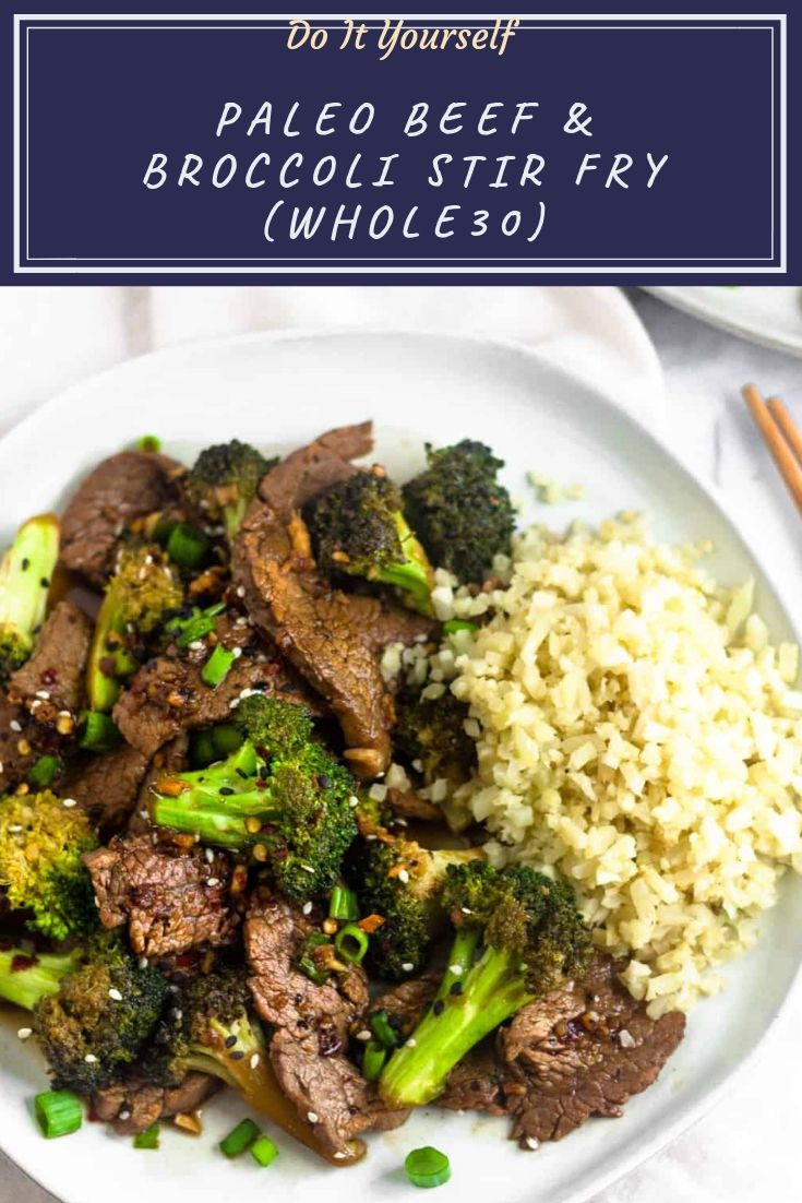 Flavor packed Whole30 and Paleo Beef & Broccoli Stir Fry that's easy to make, ready in 20 minutes, uses takes one pan, and only calls for 10 ingredients!