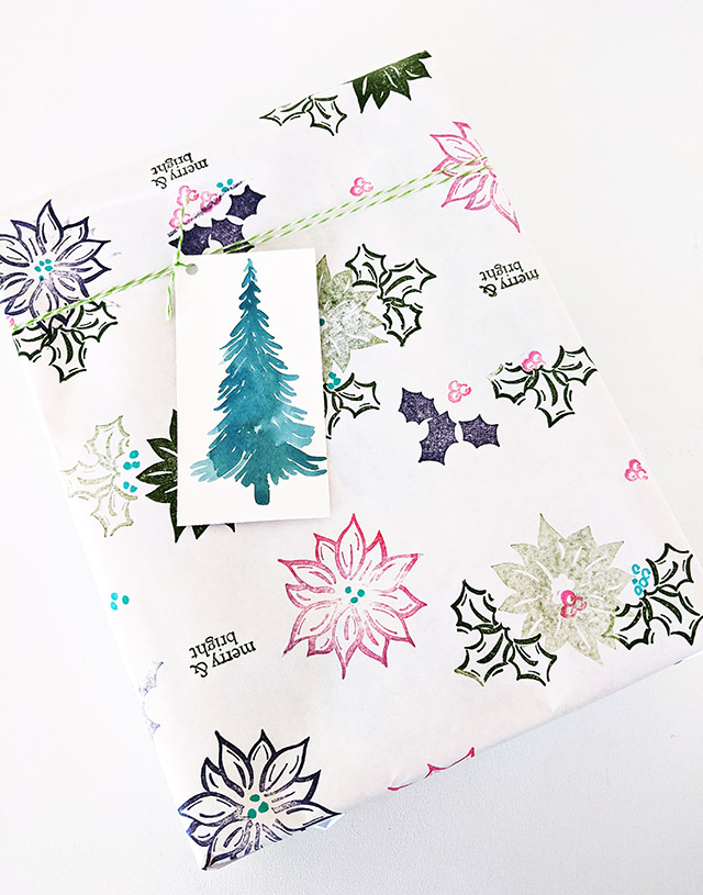 Stamped Christmas Wrapping Paper