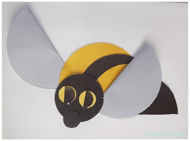 origami płaskie z kółek pszczoła