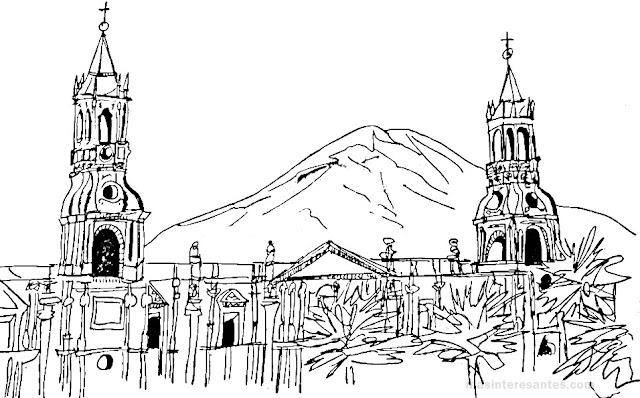 Catedral de Arequipa y el Misti para colorear