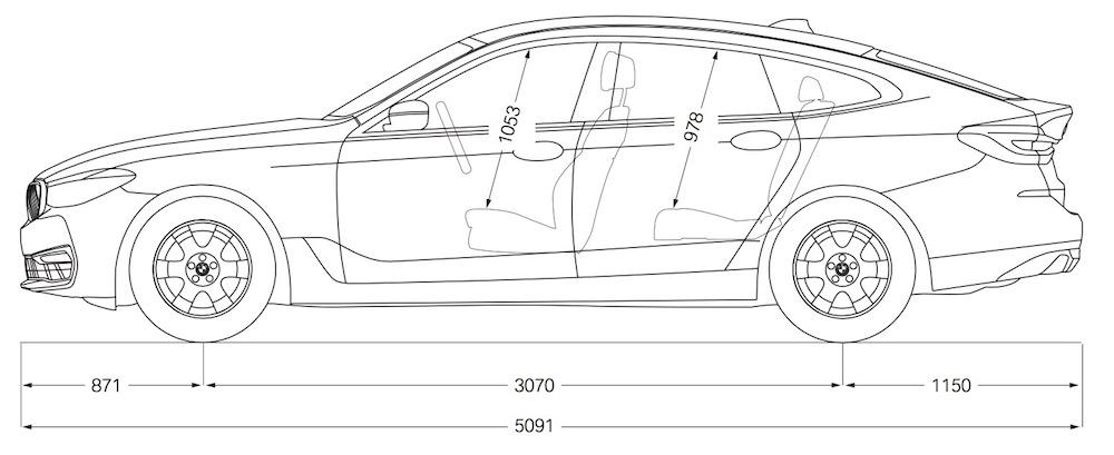 BMW Serie 6 GT - Dimensioni, misure e peso - Bagagliaio 2