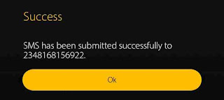 Mymtn app success message, sms was submitted successfully to the entered phone number