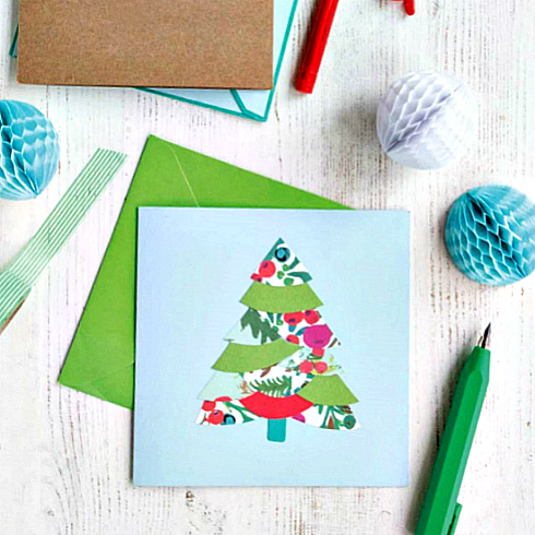 pieced paper Christmas tree card and envelope