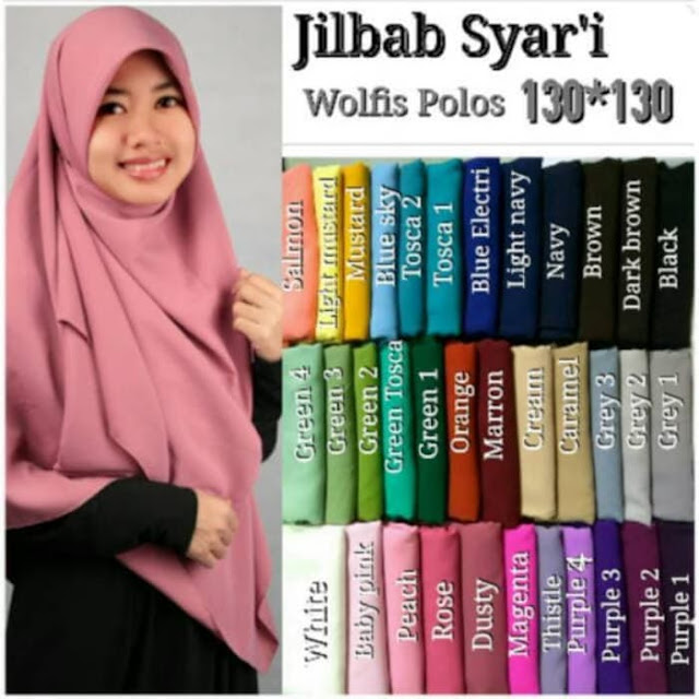 Jilbab SEGI EMPAT WOLFIS Panjang dan Syari Banget untuk Muslimah