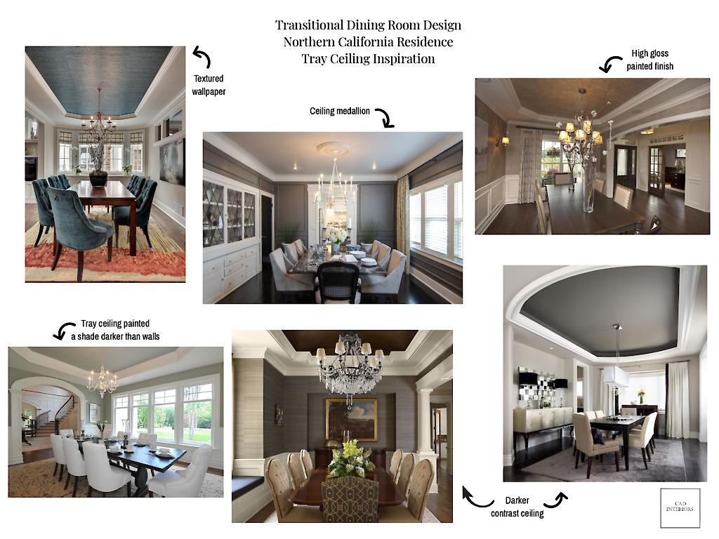 CAD Interiors Transitional Dining Room Design virtual remote online interior e-design