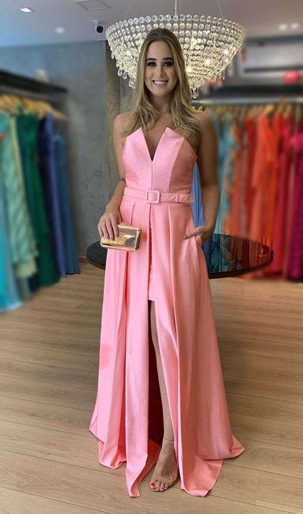 vestido longo rosa queimado para madrinha de casamento