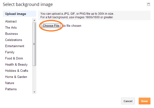 how to upload background image blogger
