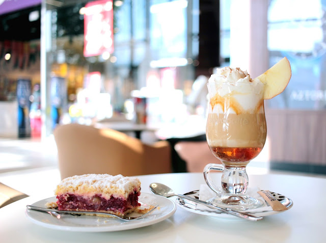 Rhubarb Cake and Latte Coffee
