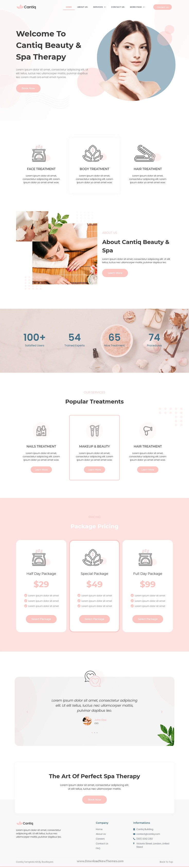 Beauty Spa Salon Therapy Elementor Template Kit