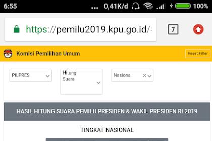 Update Hasil Pilpres 2019, Minggu 21 April 2019 pukul 06.45