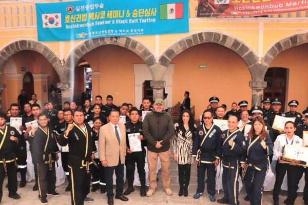 Culminan elementos de Secretaría de Seguridad Ciudadana de Cholula curso en defensa y derechos humanos
