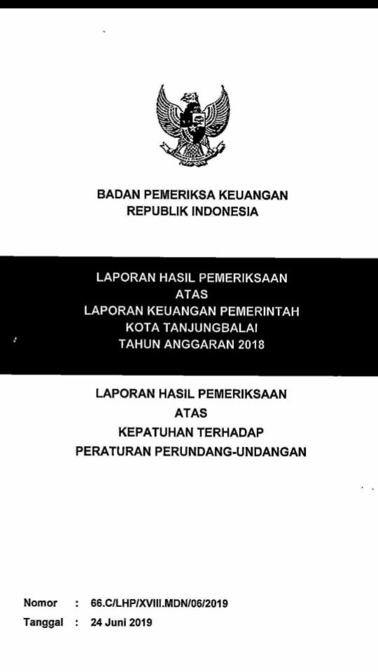 Lembaran buku hasil temuan BPK di Tanjungbalai.