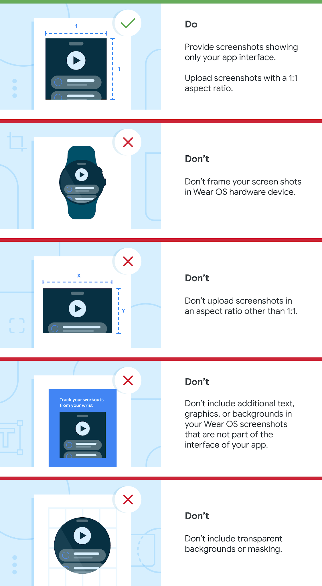 List of Watch OS dos and don'ts. Do upload screenshots with a minimum size of 384 x 384 pixels, and with a 1:1 aspect ratio. Do provide screenshots showing only your app interface — screenshots must demonstrate the actual in-app or in-game experience, focusing on the core features and content so users can anticipate what the app or game experience will be like. Don't frame your screenshots in a Wear OS watch. Don't include additional text, graphics, or backgrounds in your Wear OS screenshots that are not part of the interface of your app. Don't include transparent backgrounds or masking.