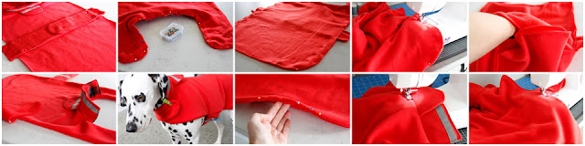 Step-by-step photos showing how to sew a dog coat