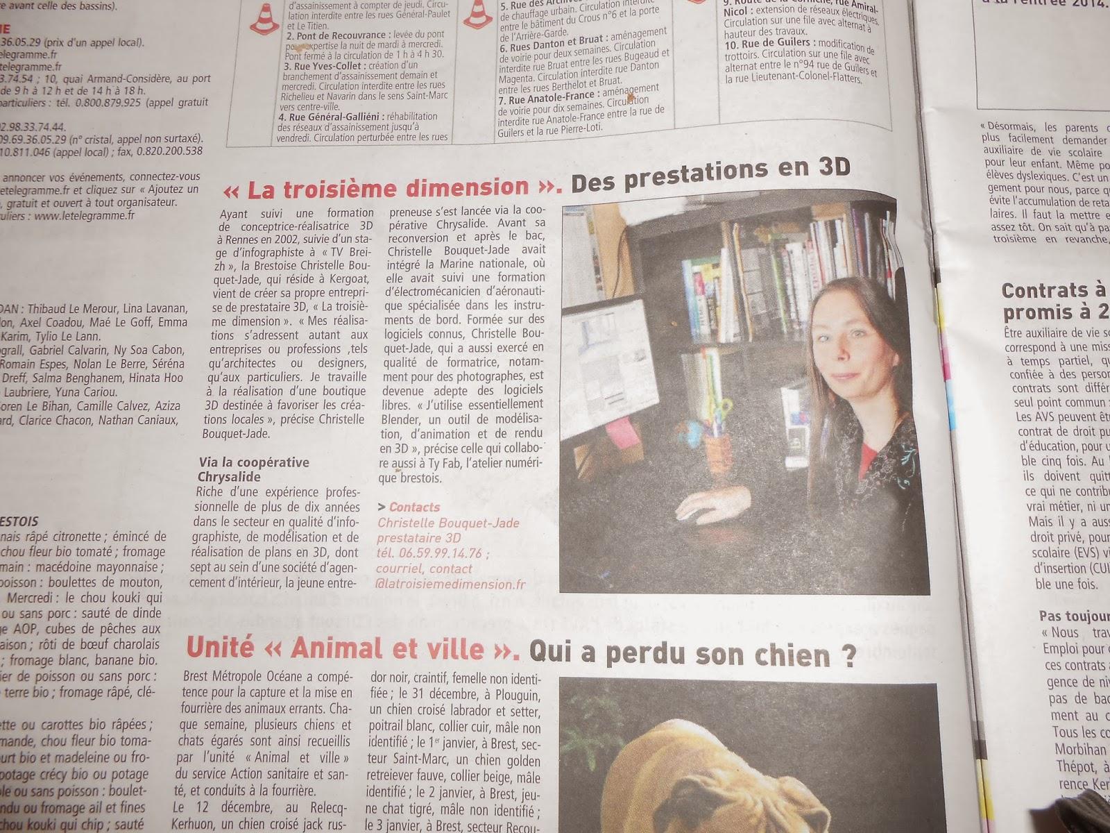 La Troisième Dimension dans la Presse: le Télégramme de Brest 13 janvier 2014