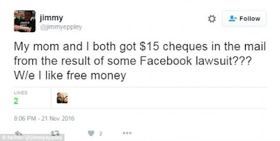 Facebook users receive $15 checks after it used members' names and faces in adverts without their permission (Photos)