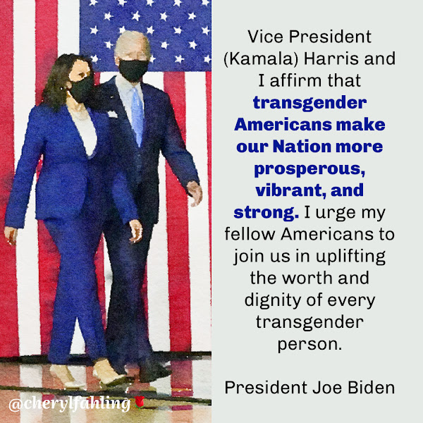 Vice President (Kamala) Harris and I affirm that transgender Americans make our Nation more prosperous, vibrant, and strong. I urge my fellow Americans to join us in uplifting the worth and dignity of every transgender person. — President Joe Biden