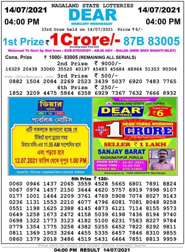 lottery sambad 14.7.2021 day 4pm