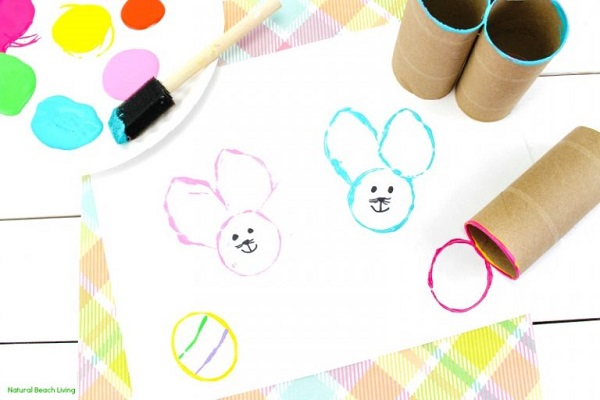 toilet paper roll bunny painting