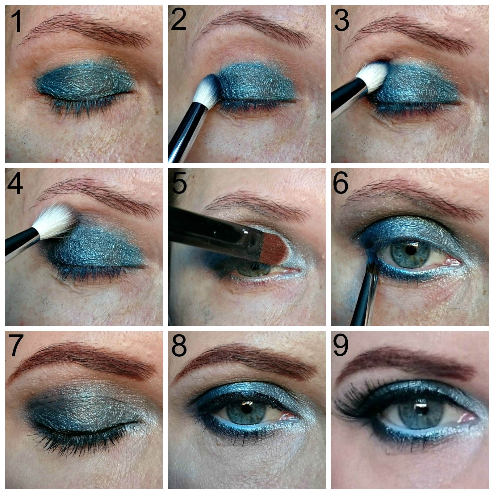 Blue eye shadow makeup look