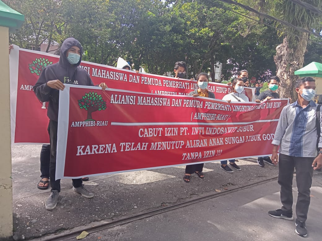 Gelar AKsi Demo, AMPPIHIBI Desak DLHK Provinsi Riau Evaluasi Izin PT ISS