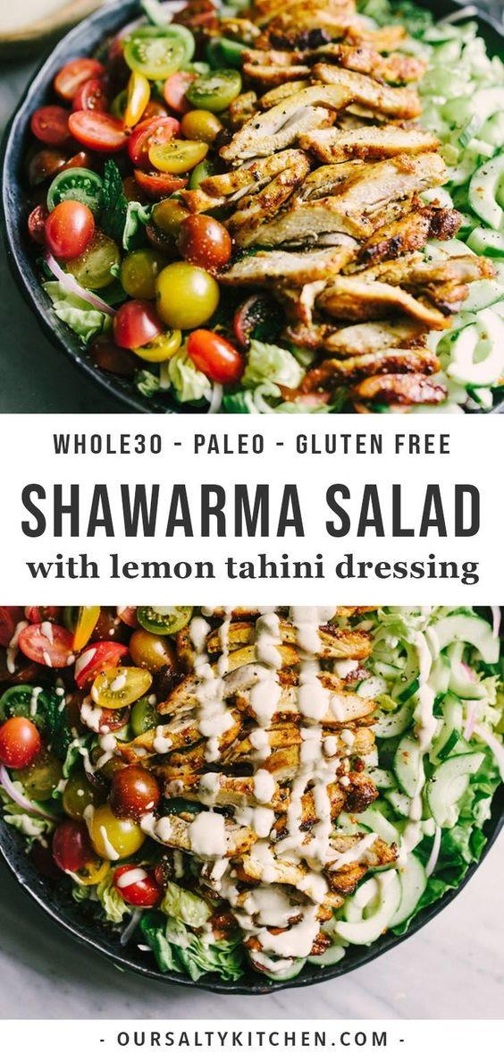 Chicken Shawarma Salad With Tahini Dressing