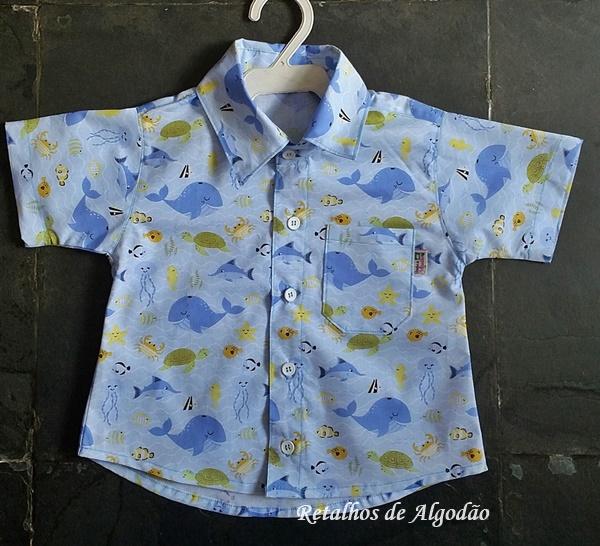 Camisa infantil fundo mar para um ano