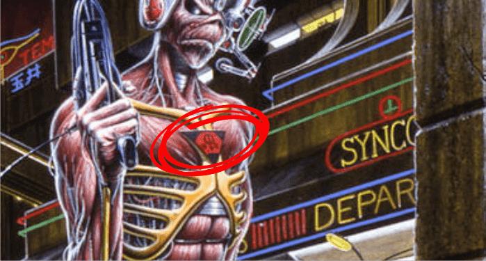 Veja a assinatura mais uma vez no peito do mascote Eddie