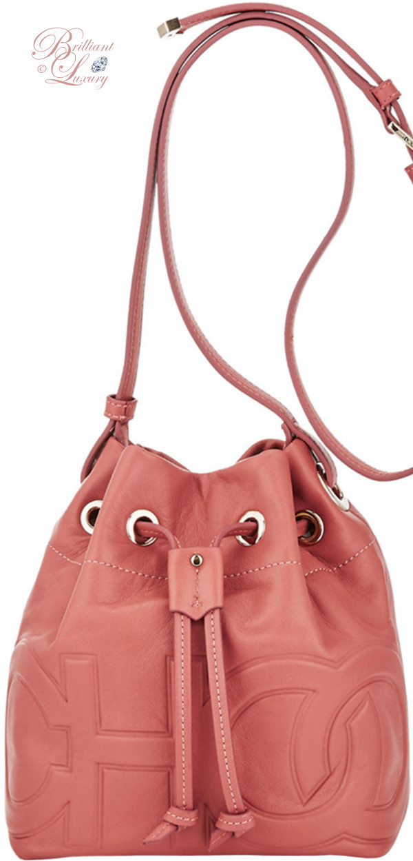 Brilliant Luxury ♦ Jimmy Choo Juno Rosewood Nappa Leather Drawstring Bag with Embossed Choo Logo