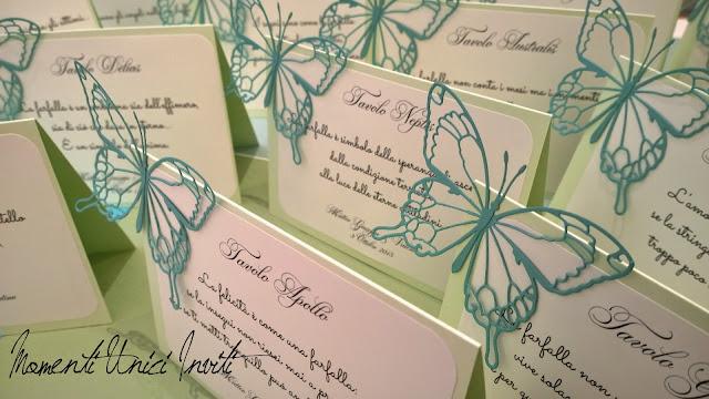 """4 I segnatavolo """"Volo Lieve"""" di Valentina e Matteo GiuseppeCards Tableau Colore Tiffany Colore Verde Menta Segnatavolo Tema Farfalle Verde Mela"""