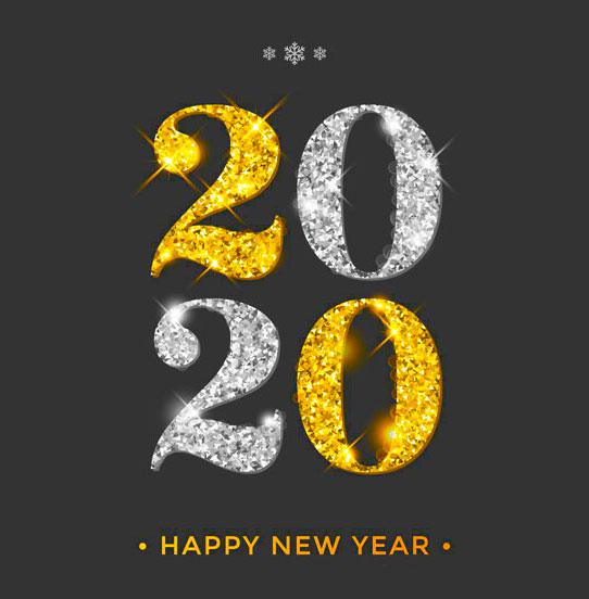 happy new year 2020 golden writing