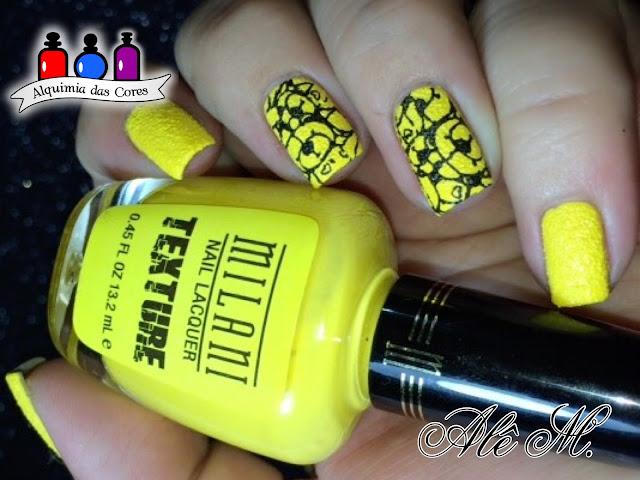 DRK Nails Extra Black, Milani Nail Lacquer, Texture, 904 - Yellow Mark, Odisseia Esmaltada, Alê M., Sugar Bubbles, SB058