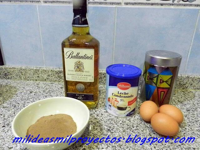 ingredientes para la crema de licor de café