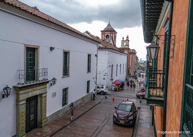 Vista do balcão do apartamento do Hotel de la Ópera, em La Candelaria, Bogotá