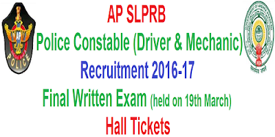 AP PCs Mechanic & Driver Final Written Test Hall Tickets 2017