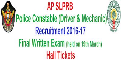 AP PCs Mechanic & Driver Final Written Test Hall Tickets 2017