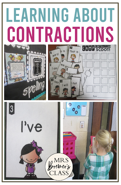Learning about contractions in spelling and word work activities and literacy centers for First Grade and Second Grade