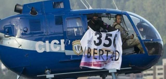 """Hace un año Óscar Pérez sobrevoló Caracas con un cartel llamando a la rebelión """"350 Libertad"""""""