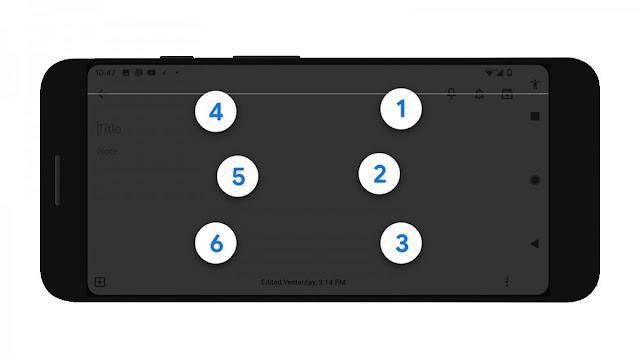 لوحة مفاتيح Google Talkback على هاتف Android.