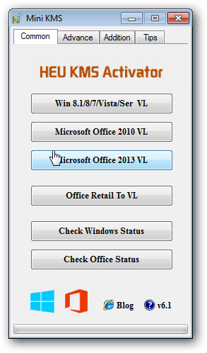 HEU KMS Activator 6.1 (Win 8.1/8/7/Vista/Serve e Office 2010/2013)