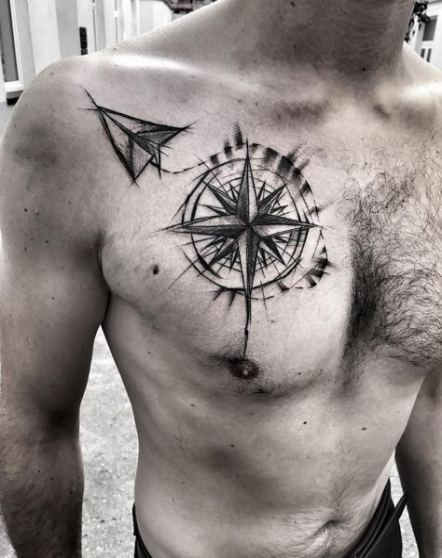 Compass tattoo design on chest