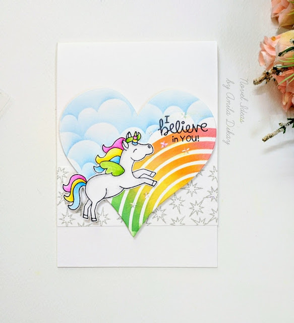 I believe in unicorns by Anila features Believe in Unicorns by Newton's Nook Designs; #newtonsnook, #inkypaws, #magicalcards, #cardmaking, #unicorns