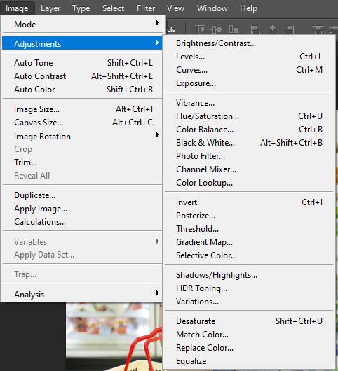 Menu Adjustments - menu con của Image trong Photoshop