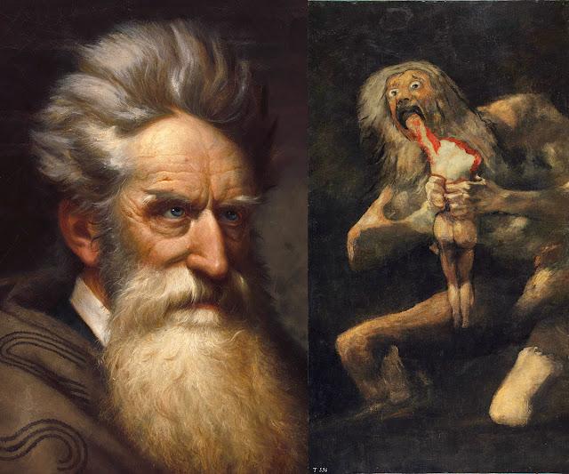 Left: Ole P.H. Balling, John Brown (Detail), 1872      Right: Francisco Goya, Saturn Devouring His Son, 1819-23