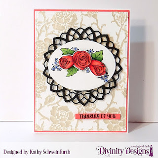 Stamp/Die Duos: My World Custom Dies: A2 Portrait Card Base with Layer, Matting Rectangle, Delicate Doily, Ovals, Sentiment Strips Other: Mixed Media Stencil Roses (embossing paste)